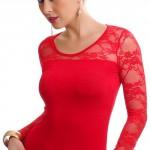 Červený dámský top s dlouhým krajkovým rukávem