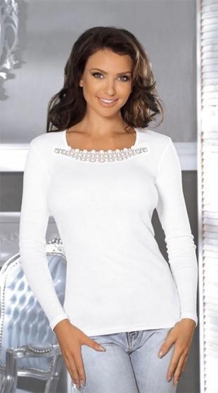Dámské tričko s dlouhým rukávem a výstřihem dekorovaným efektní krajkou