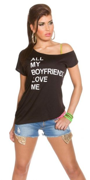 Dámské tričko s nápisem asymetrického střihu