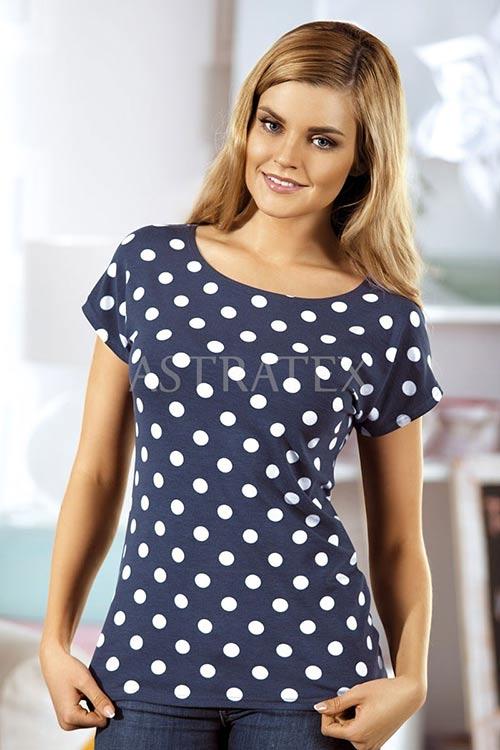 Modré puntíkované dámské tričko