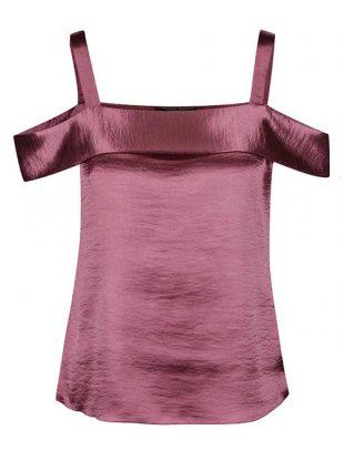 Růžový lesklý top s odhalenými rameny