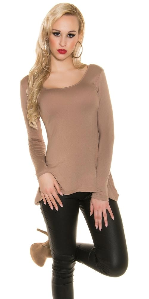 Prodloužené dámské hnědé tričko s dlouhými rukávy
