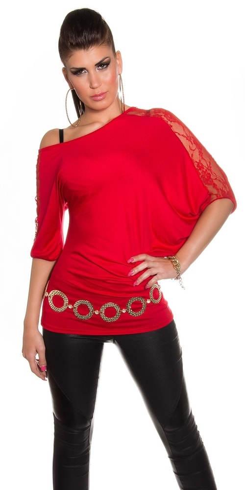 Asymetrický červený dámský top