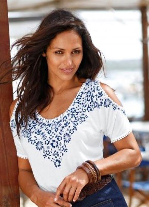 Bílé dámské tričko s modrým potiskem