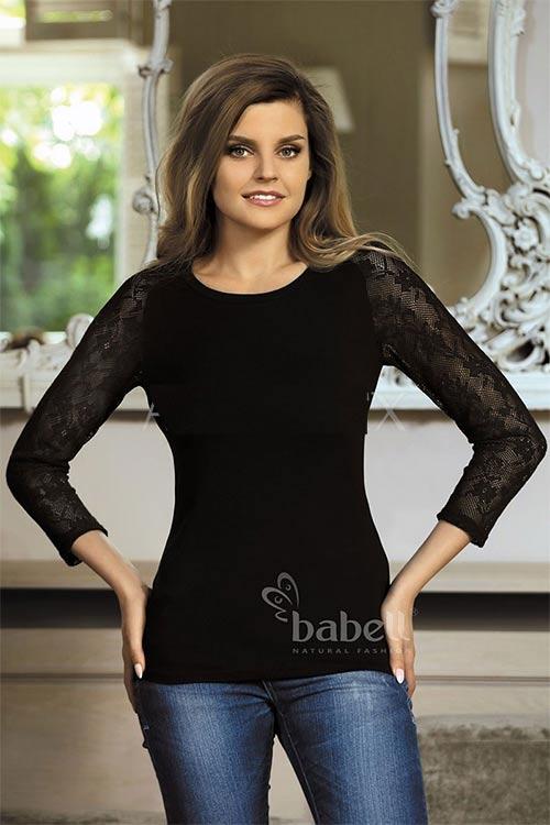 Černé tričko s dlouhými krajkovými rukávy