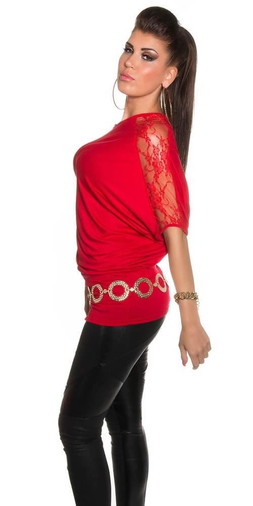 Červená tunika s krajkovým rukávem