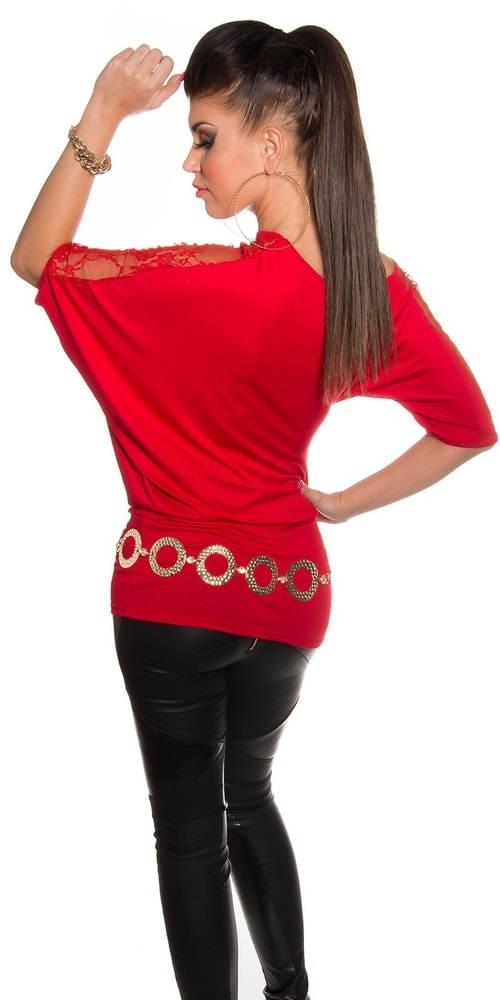 Červené tričko s krajkovým rukávem