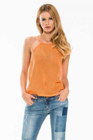 Oranžové tílko bez rukávů s ažurovým vzorkem