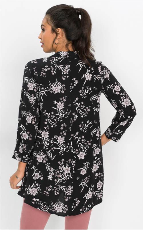 Černobílá květovaná tunika