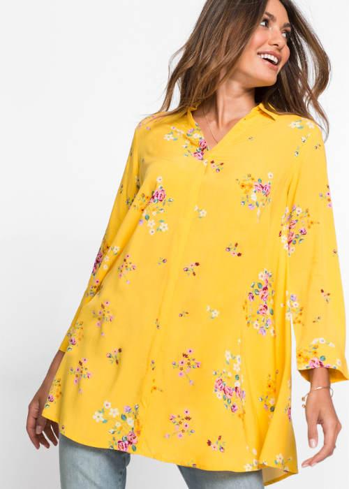 Žlutá košilová halenka vhodná i pro těhotné