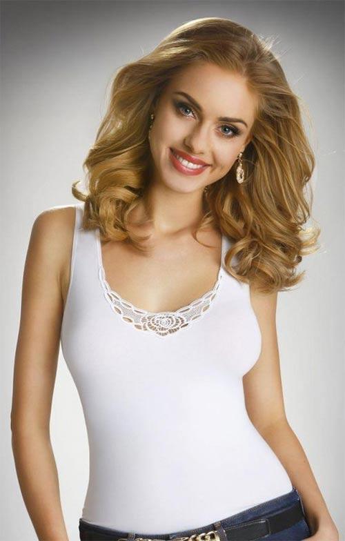 Bílé dámské halenkové tílko z bavlny