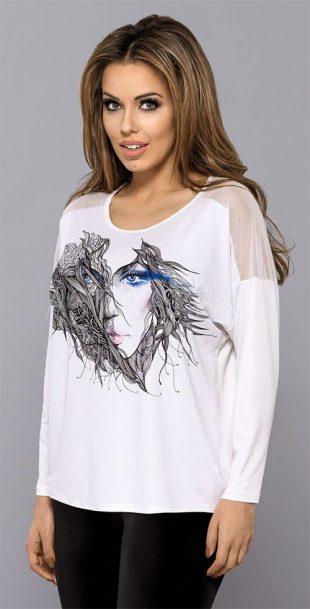 Dámské tričko v bílé barvě s nápaditým potiskem