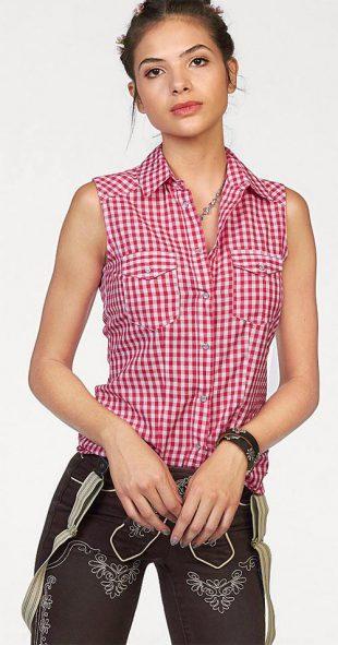 Karovaná dámská košile bez rukávů