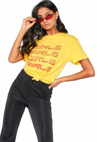Žluté dámské tričko s krátkým rukávem
