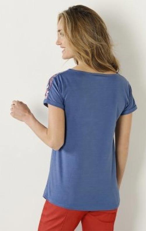 Delší dámské modré tričko