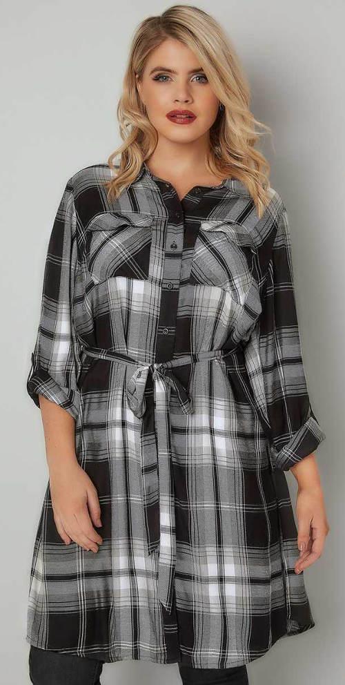 Dlouhá dámská károvaná košile