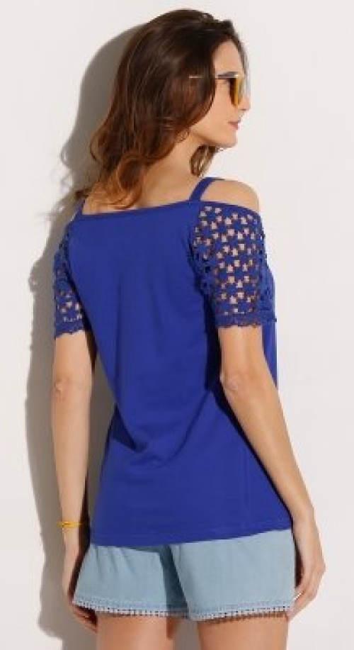 Modré tričko s krátkými krajkovými rukávy