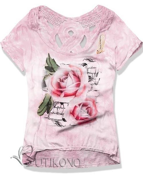 Oversize tričko s květinovým potiskem
