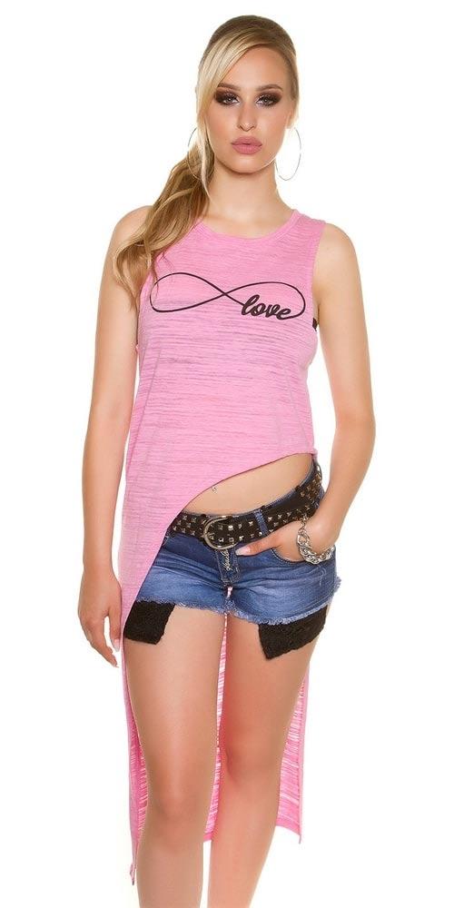 Růžový dámský asymetrický top Love