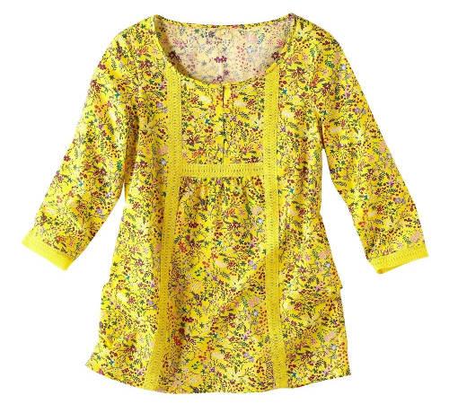 Žlutá halenka s květinovým potiskem