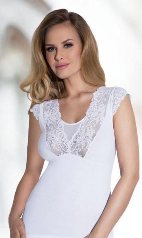 Bílé krajkové tílko z kvalitní bavlny
