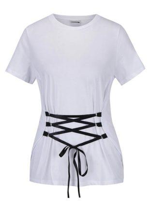 Bílé tričko se šněrováním