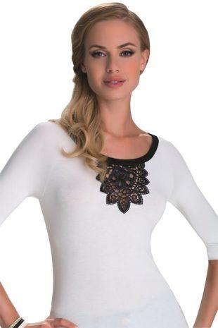 Dámské bílé tričko s černou krajkou