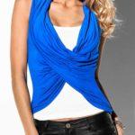 Modrý dámský top s překřížením