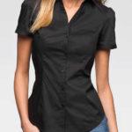 Černá dámská košile s krátkým rukávem