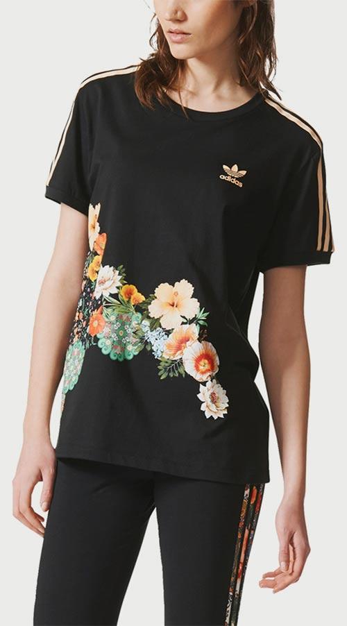548a6f33f9c0 Černé květované dámské tričko Adidas