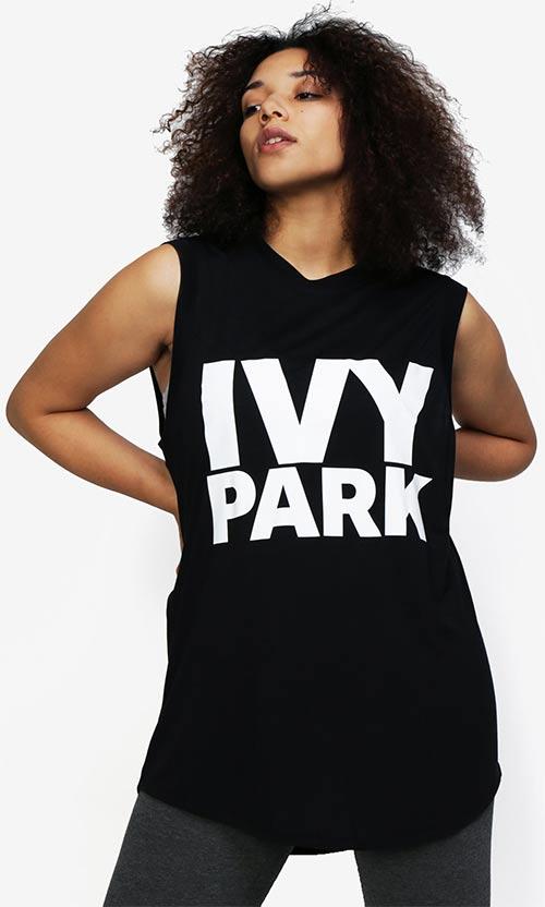Černé oversize tílko s potiskem Ivy Park