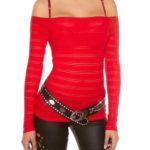 Červené dámské tričko s carmen výstřihem