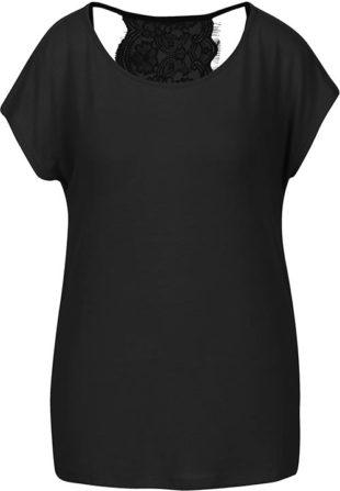 Černé dámské tričko s krajkovými zády