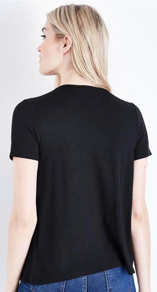 Černé dámské tričko s krátkým rukávem