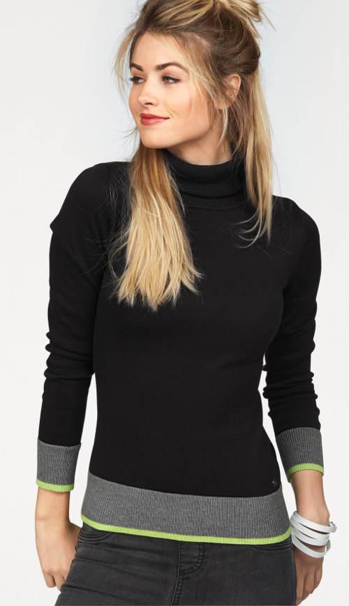 Černý dámský svetr s kotrastními lemy
