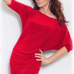 Červené tunikové šaty v netopýřím střihu