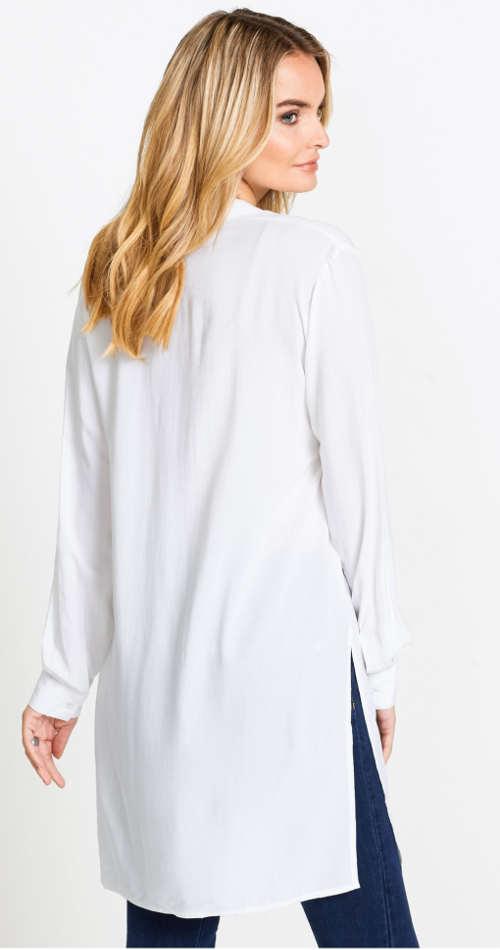 Dlouhá bílá košilová tunika