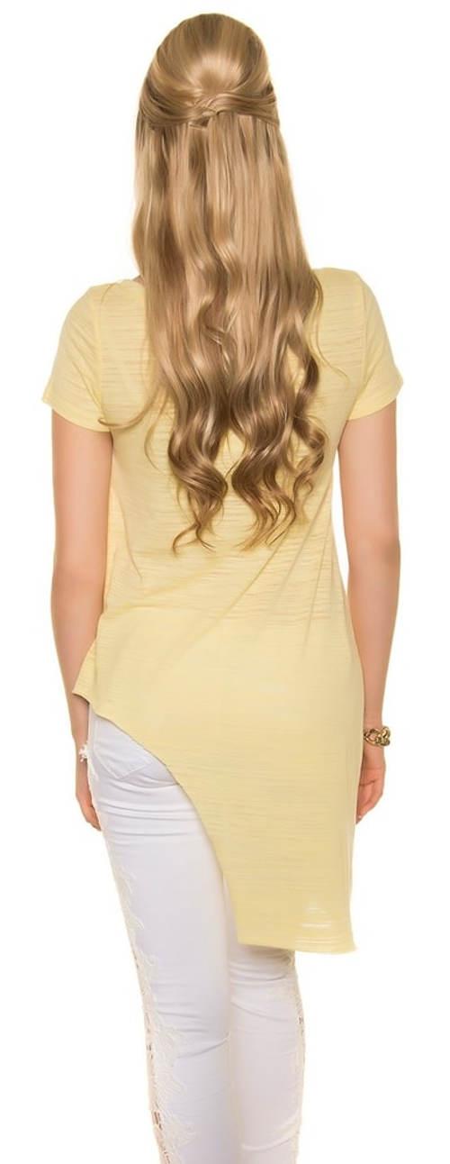 Dlouhé asymetrické žluté tričko
