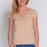 Levné béžové dámské tričko