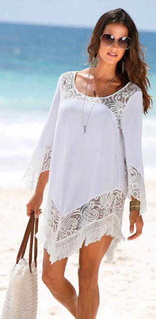 Plážová tunika s krajkou a třásněmi