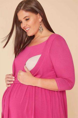 Růžová těhotenská halenka s bolerkem