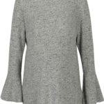 Šedý těhotenský žíhaný lehký svetr s volány