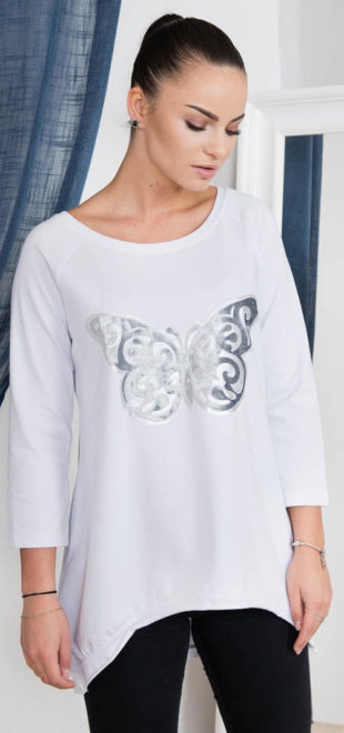 Bílé asymetrické triko s motýlem