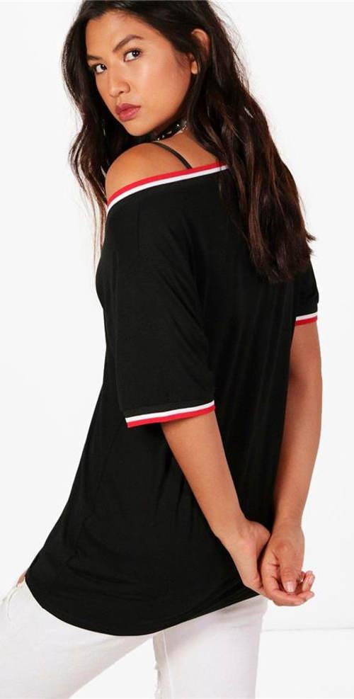 Černé dámské triko se sportovním rukávem