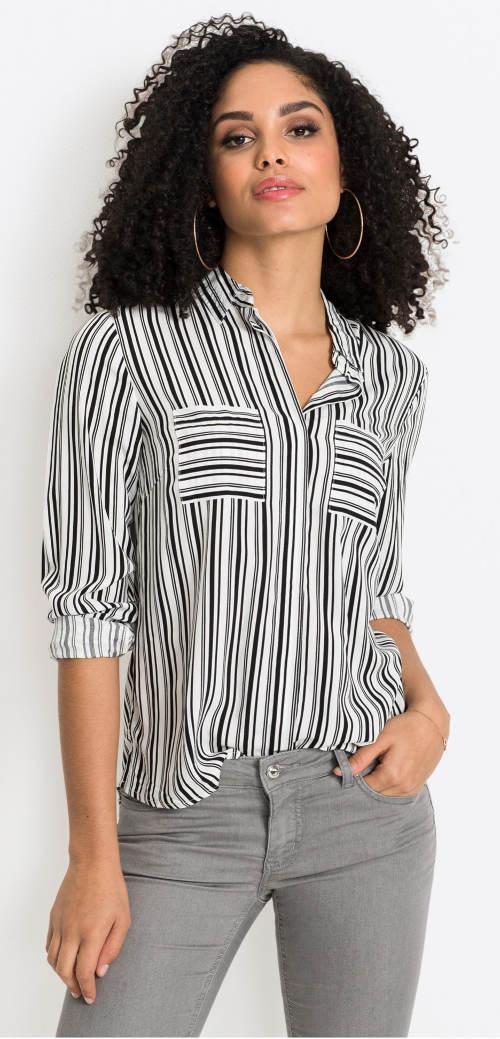 Černobílá pruhovaná dámská košile