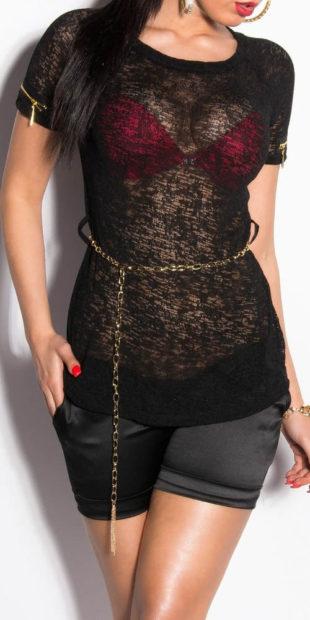 Průsvitné černé tričko s řetízkovým opaskem