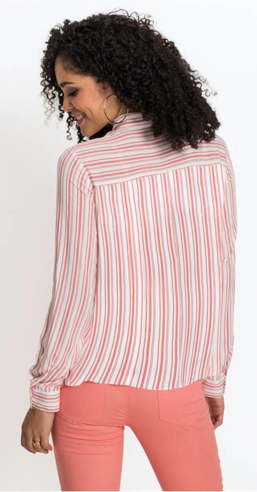 Růžovo-bílá dámská pruhovaná košile
