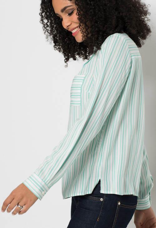 Tyrkysová pruhovaná dámská košile