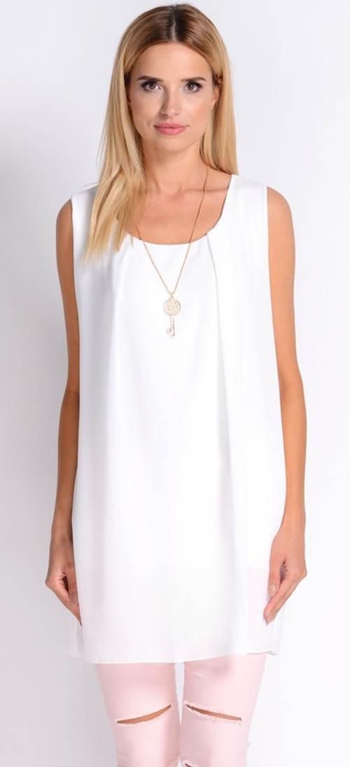 Pohodlná bílá letní tunika bez rukávů