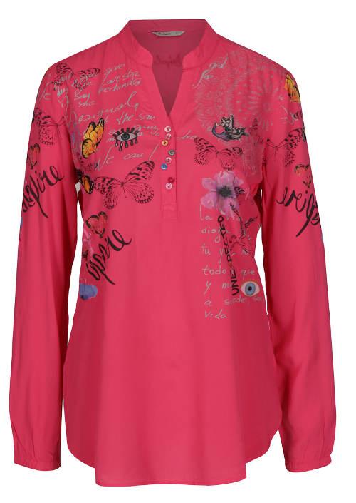 Růžová květovaná košilová halenka